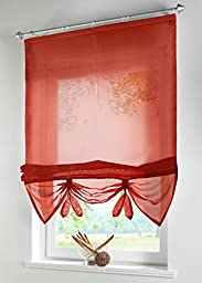Uphome 1pcs Liftable Organza Kitchen Balcony Curtains - Tie-Up Rod Pocket Roman Window Shades - Sheer Voilet Window Vanlance,55\