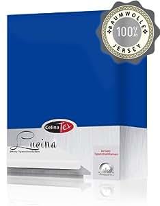 Celinatex 2816 Spannbettlaken 180 x 200 - 200 x 200 cm Baumwolle Jersey-Stretch Lucina, royal blau
