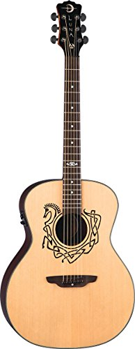 Luna Celtic Series Horse Acoustic-Electric Guitar, Solid Spruce Top - Natural