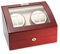 Diplomat 31-414 Cherry Wood Quad Watch Winder with Off-White Leather Interior