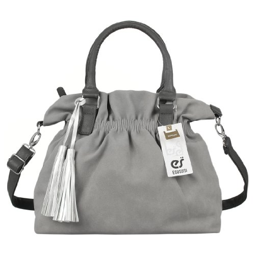 Ecosusi Women Soft Fabric Suede Tote Handbag Hobo Satchel Bag With Silver Tassel