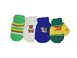 Set of Four Multicolor One Size Magic Mittens for Infants Ages 3-12 Months