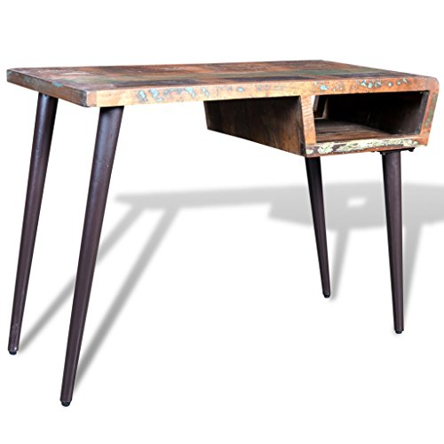 vidaXL-Schreibtisch-Massivholz-Teak-Antik-mit-Eisenfen
