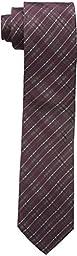 Calvin Klein Men\'s Mirror Plaid Slim Tie, Burgundy, One Size