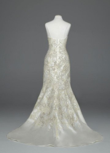 Wedding Dress Oleg Cassini Mikado Fit-and-Flare with Allover Beaded Lace...