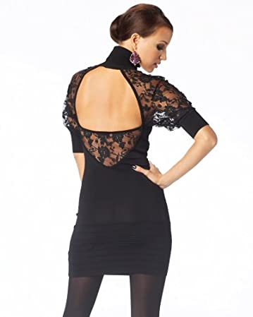bebe.com Open Back Turtleneck Lace Dress