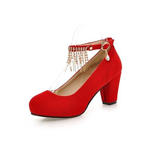 testa tonda light red shoes/Strass nappa fibbia tacchi alti/Scarpe col tacco grosso-A Lunghezza piede=21.8CM(8.6Inch)
