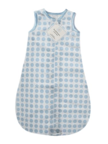 Swaddledesigns Zzzipme Sack With 2-Way Zipper, Organic Cotton Flannel Wearable Blanket, Dots And Stars In Pastel Blue 6-12 Months