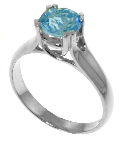 Genuine 1.1 Carat (ct, cttw, ctw) Round Blue Topaz .925 Sterling Silver Solitaire Engagement Ring