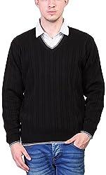 Priknit Men's Blended Sweater (SH-5000-42 BLACK, Black, 42)