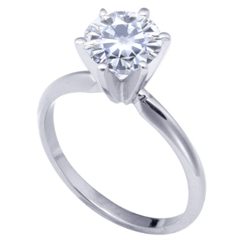 Stunning! Women's 18k White-gold 7.50mm (1.5 CT) Moissanite Solitaire Engagement Ring by Vicky K Designs - 5.5