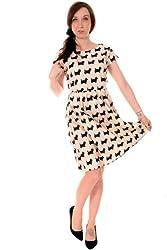 Ladies 50's Retro Vintage Scottie Dog Belt Dress Sizes 8 10 12 14 16 18