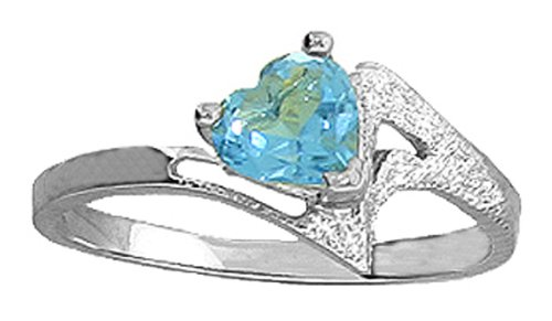 .925 Sterling Silver Promise Ring with Genuine Heart Blue Topaz