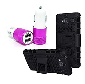 Droit Shock Proof Protective Bumper back case with Flip Kick Stand for Redmi Redmi2S + Car Charger With 2 Fast Charging USB Ports by Droit Store.