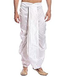 Royal Mens White Super Fine Ryan Silk Dhoti