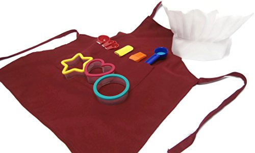 Childrens Baking Set With Apron, Chefs Hat, And 7 Piece Tool Set (Red)