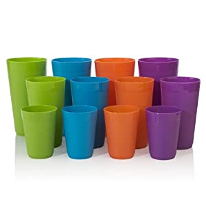 12pc Break-resistant Plastic Cup Tumblers in 4 Assorted Colors, four 10-ounce juice, four... by US Acrylic, LLC