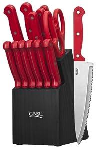 Ginsu 3887 Essential Series Cutlery Set with Black Block, Red by Ginsu