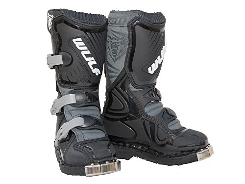 Wulfsport Cub LA Junior Kids Leather Motocross Boots (EU 33 / UK 1, Black)