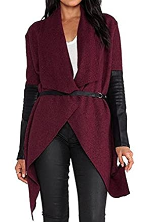 Women Casual Woolen Blend Drape Lapel Open Front Irregular Trench Coat with Belt