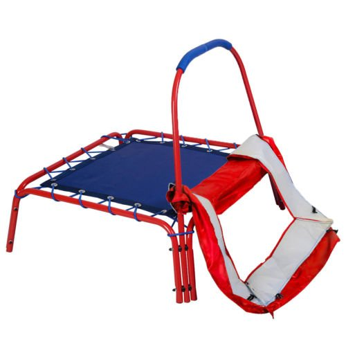 Red-Square-Jumping-Trampoline-3-x-3-FT-Kids-w-Handle-Bar-and-Safety-Pad