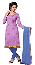 Dress Material Chanderi Purple Embroidered + Lace Unstitched