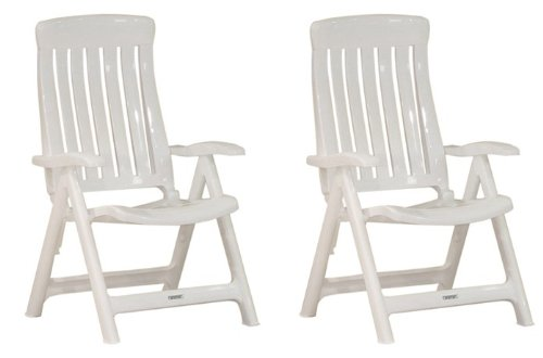 Garten Klappstühle Steiner MARINA 2er Set verstellbar Kunststoff Weiß kaufen