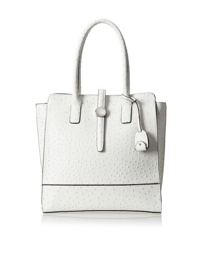London Fog Women's Women's Kenzie Tote, White Ostrich