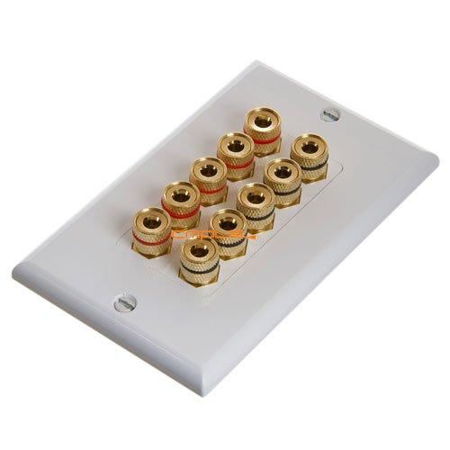 Cmple Speaker Wall Plate High Quality Banana Binding Post For 5 Speaker Decor