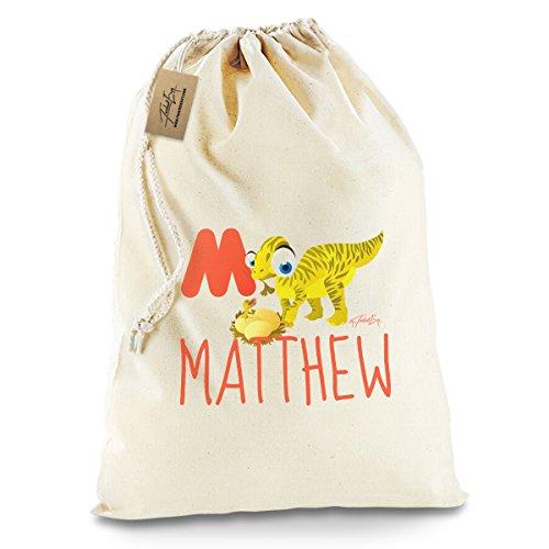 [Personalised Dinosaur Letter M White Santa Sack Christmas Stocking Gift Bag Large] (Animals That Start With The Letter M)