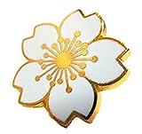 【H-H-W】いろんなところにプラスワン かわいい 桜 モチーフ ピンバッジ 2個セット ジャケット から バッグ などに (12.金枠 スカイブルー)