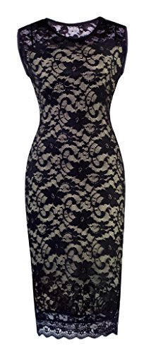 Homeyee® Women's Floral Lace Cocktail Party Sheath Dress S09 (Us Size 10, Black)