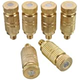 Sellify 3/16 Inch Garden Irrigation Brass Misting Spray Nozzle Cooling Humidification Sprinkler-size 0