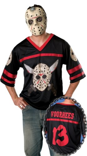 Friday The 13Th, Jason Hockey Jersey And Mask, Black, Standard