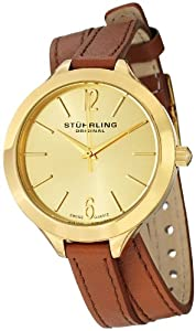 "Stuhrling Original Womens 568.04 Soiree ""Deauville Sport"" 23k Yellow Gold-Plated Stainless Steel and Brown Leather Wrap Watch"