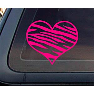 Zebra Print Heart HOT PINK Car Decal / Sticker