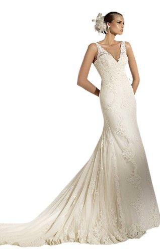 Modern Sheath/Column V-neck Court Train Wedding Dress With Lace Ivory