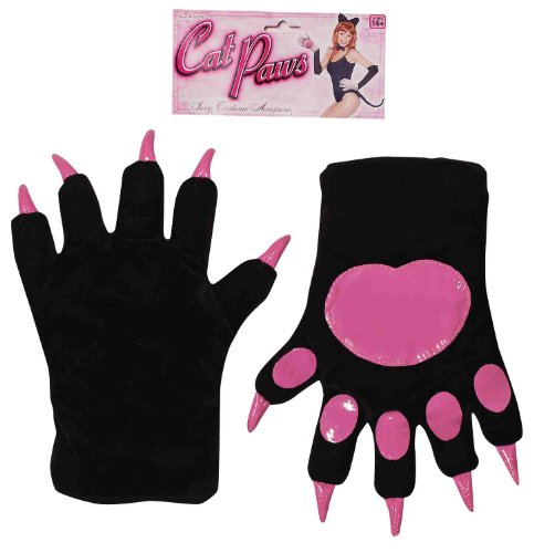 Forum Novelties Women's Cat Paws Gloves, Black, One Size