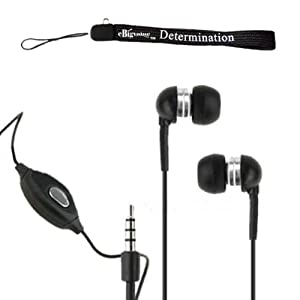 eBigValue: BLACK with MIC High Quality HD Noise Filter Lightweight Earbud Earphone Headphones (3.5mm Jack) + Includes an eBigValue TM Determination Hand Strap