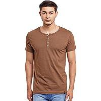 Men's Henley T-Shirt (Brown, X-Large)