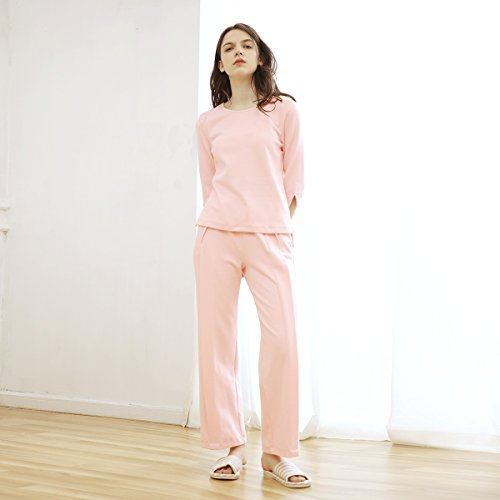 Casa autunno/inverno abbigliamento abiti europei e americani sette-manica cotone rosa HOME Abito twin set , light powder , m