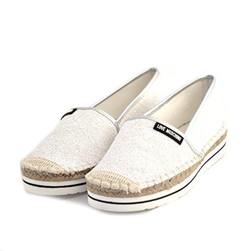 espadrillas donna Love Moschino JA10113 tessuto glitterato bianco gomma e rafia 41