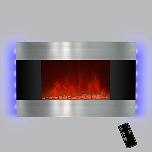 "36"" Electric Wall Mount Fireplace Heater GV-510DPB with Remote Control and Backlight"