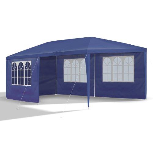 JOM, Gazebo da giardino con 6 pareti, 4 con finestre e 2 chiuse, in PE 110G impermeabile, raccordi in plastica, con picchetti e corde, superficie 3 x 6 m, colore: Blu