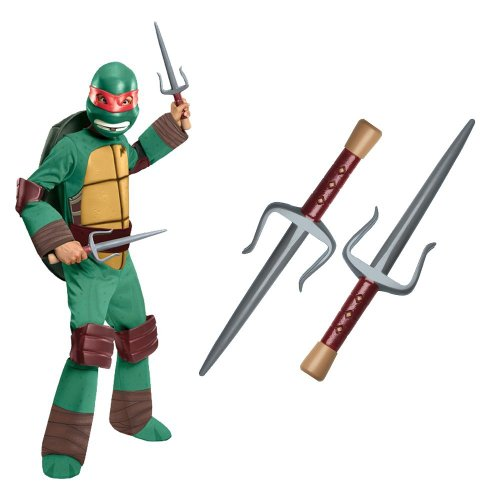 Teenage Mutant Ninja Turtle - Raphael Kids Costume With Sais, Medium