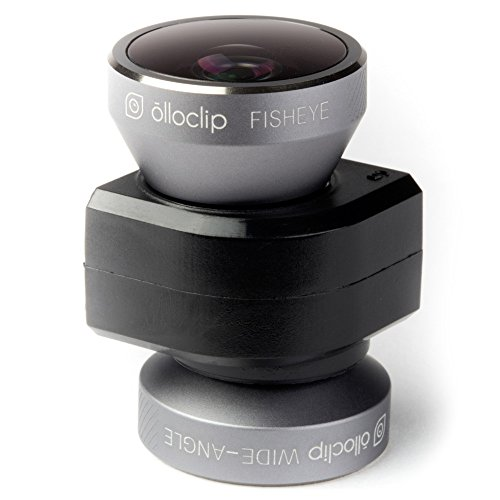 Olloclip Iphone 5/5S 4-In-1 Lens System: Fisheye, Wide-Angle, 10X Macro And 15X Macro. Includes: Caps, Bag, And Ipod Touch 5Th Generation Adapter - Space Gray Lens/Black Clip