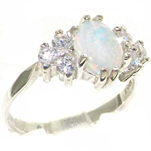 9ct White Gold Opal & 0.36ct 1/3ct Diamond Ring - Size I 1/2 - Finger Sizes J to Z Available - Perfect Gift for Mother, Wife, Grandmother, Grandma, Aunty