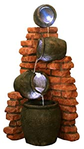 Fontana con quattro anfore per l 39 olio e luci led amazon for Anfore terracotta da giardino