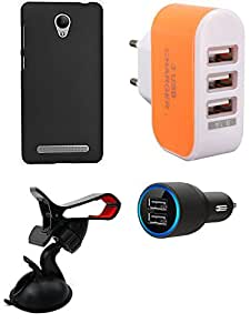 NIROSHA Cover Case Car Charger Mobile Holder Charger for Vivo Y28 - Combo