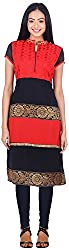 NavRachna Women Red Straight Kurti with Contrast Georgette Panels, Highlighted with Brocade Lace, and Embroidered Yoke (NV11_67-RED_36)